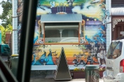 Colorful mural shot taken from motorhome