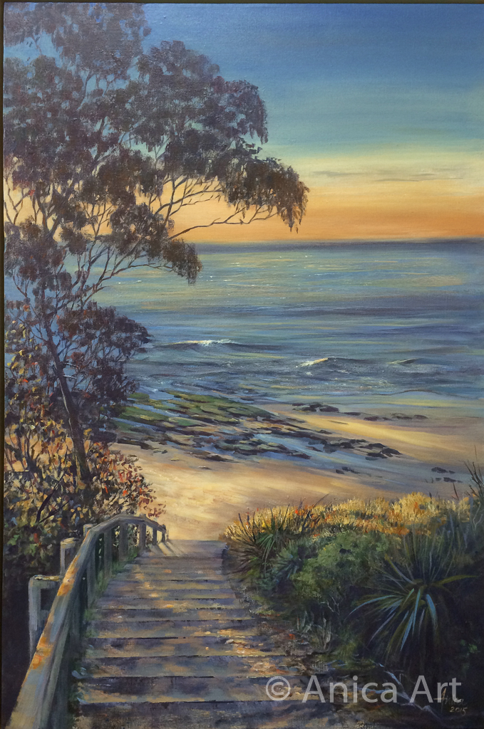 acrylic painting narrawallee beach