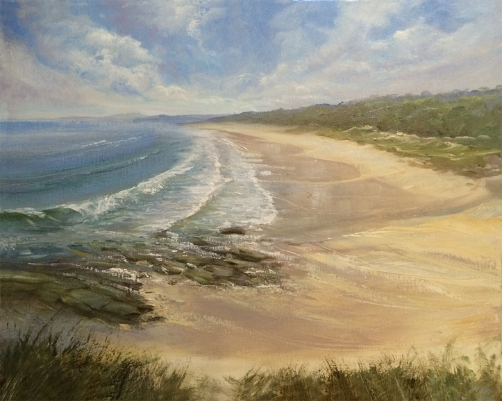 Racecourse Beach Ulladulla painting
