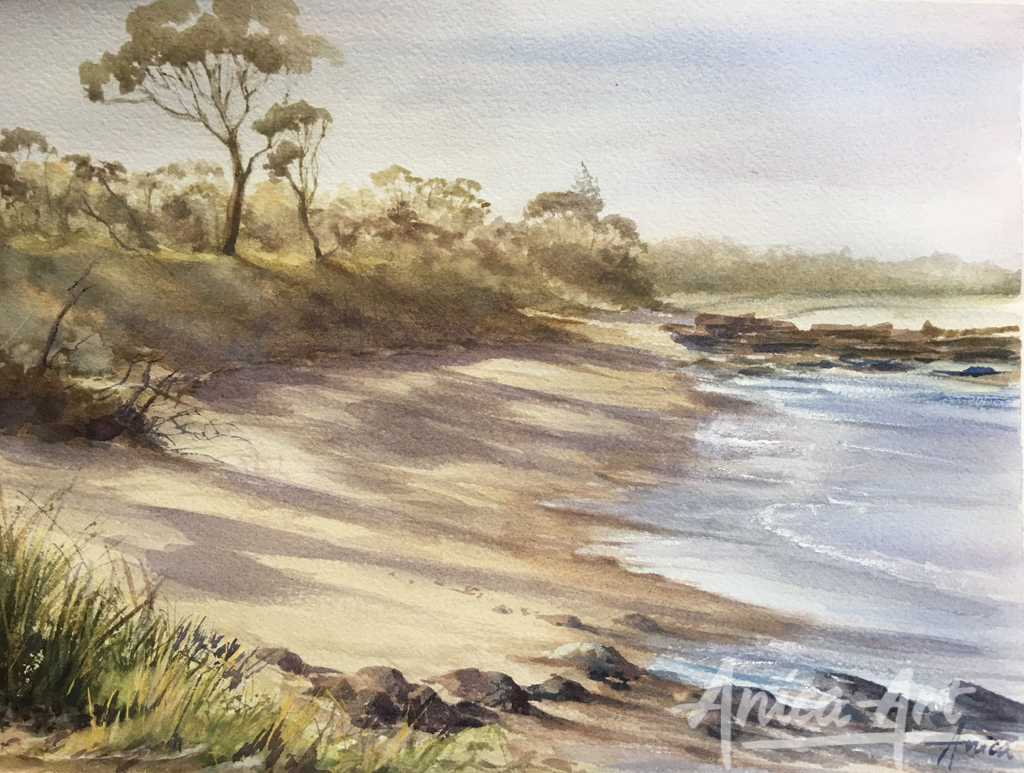 afternoon-light_narrawallee-beach_watercolour