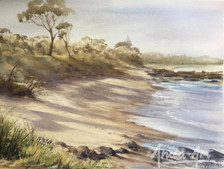 afternoon-light_narrawallee-beach_watercolour