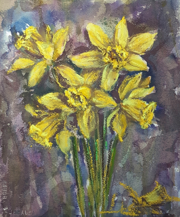 Daffodils_watercolour_pastel