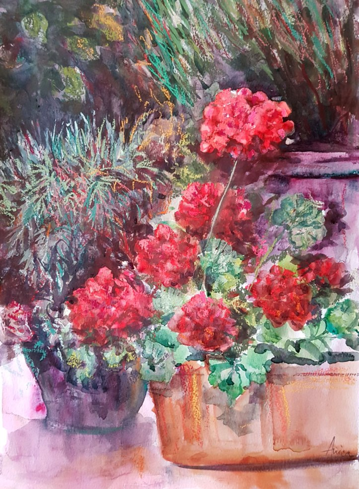 Geraniums painting in mixed media