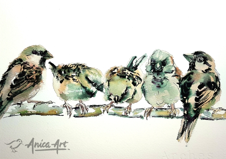 Sparrows painting-loose