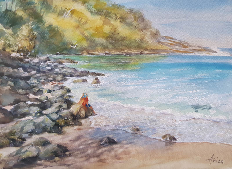 Mollymook Beach watercolour painting