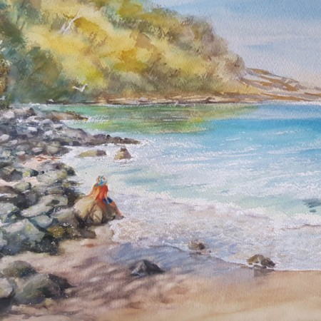 Mollymook Beach watercolour painting